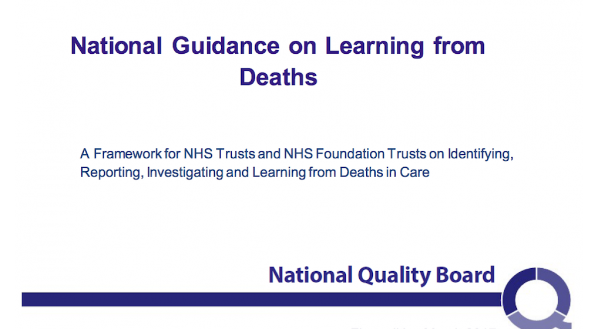 Front cover of National Guidance on Learning from Deaths