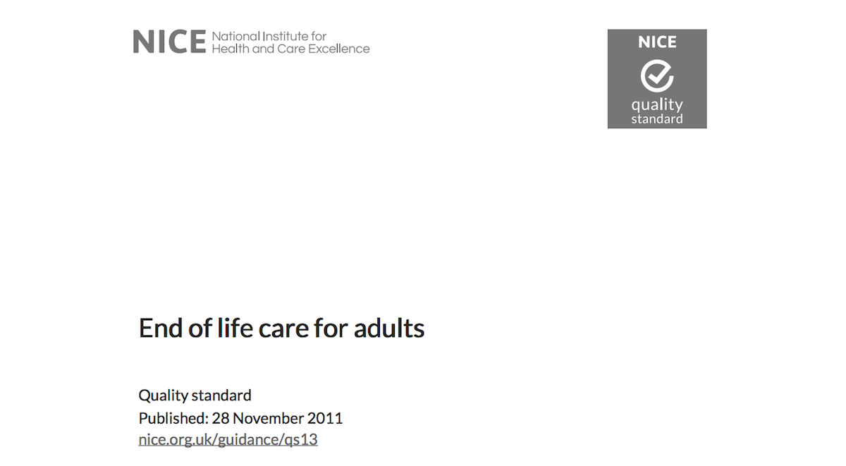 Front cover End of Life Care for Adults